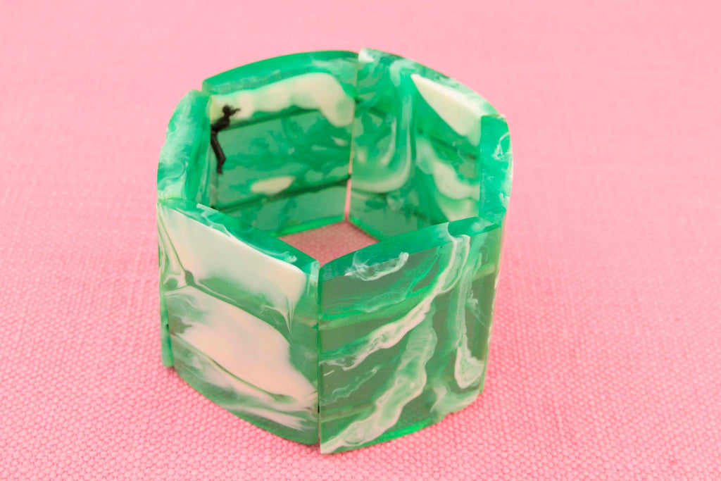 Green Bakelite Bracelet, French circa 1950