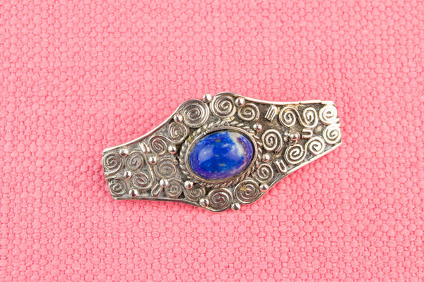 Silver and Lapis Lazuli Silver Brooch, English Circa 1900