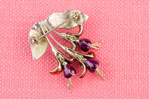 Enameled Fuchsia Flower Brooch in Silver 1950s
