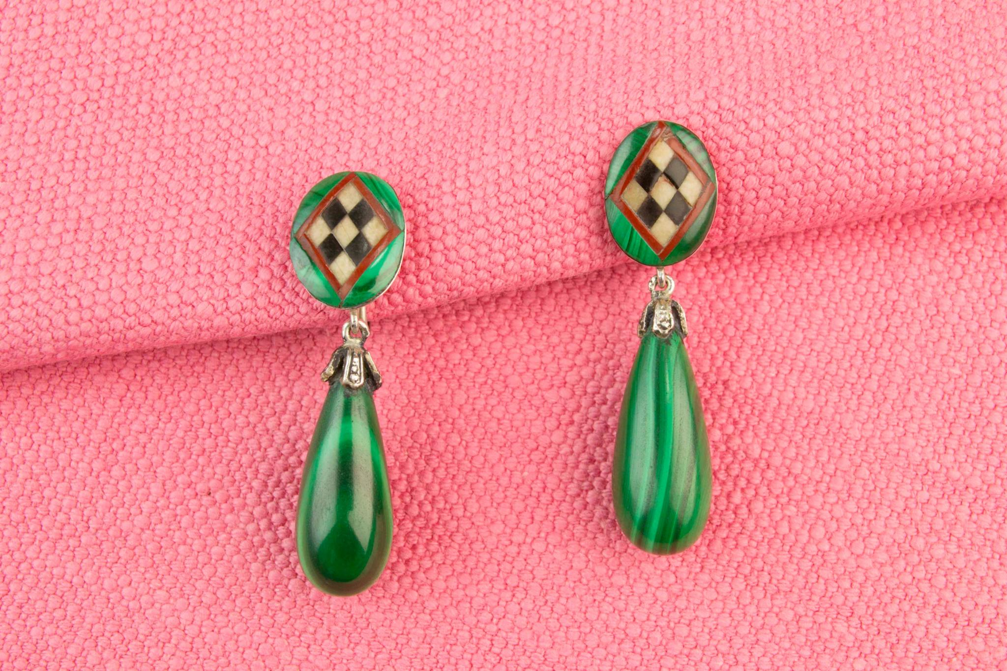 Malachite Agate and Silver Earrings, Scottish circa 1910