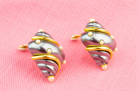 Grey Shell Clip Earrings by Kenneth Lane American