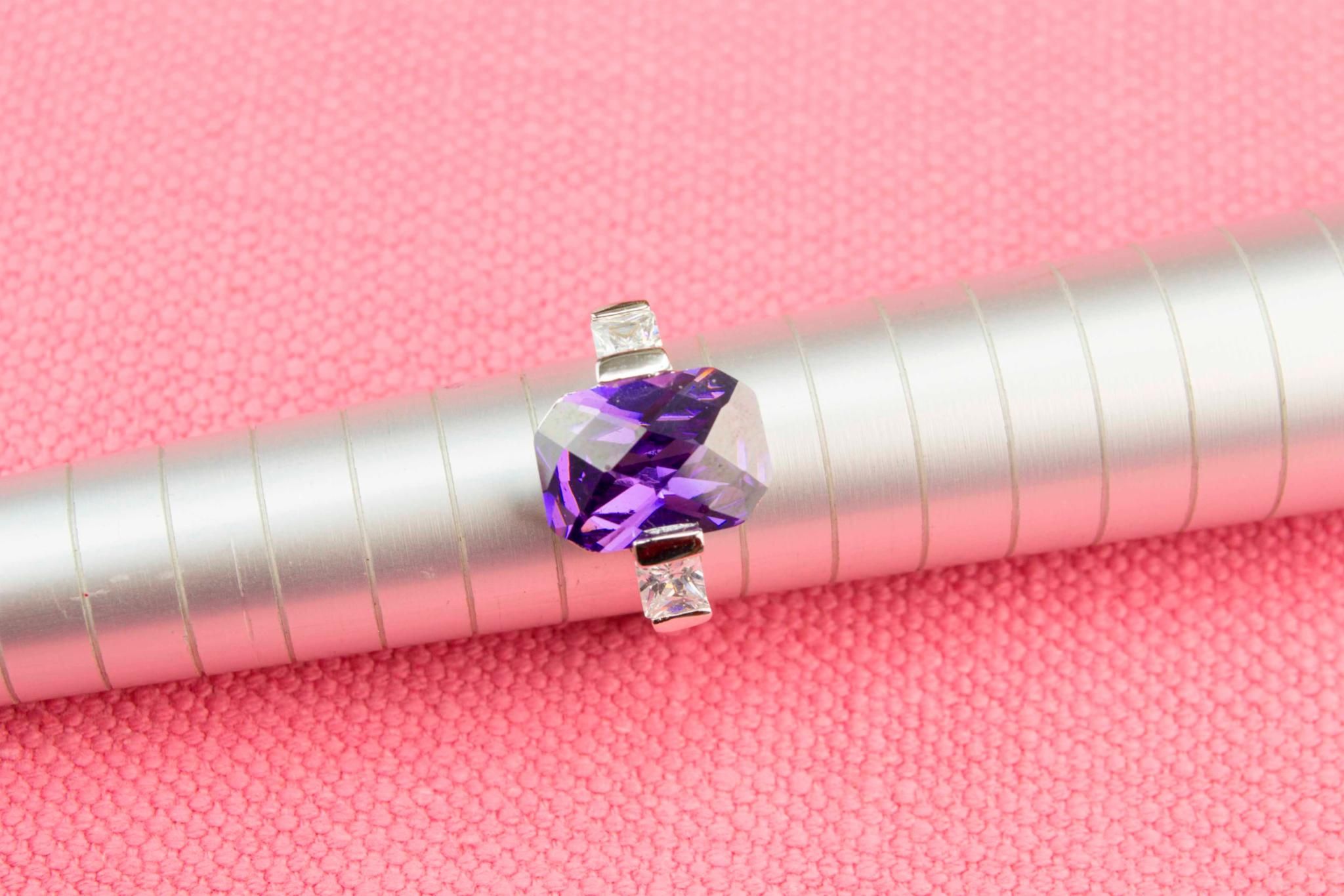 Amethyst Trinity Ring in Sterling Silver