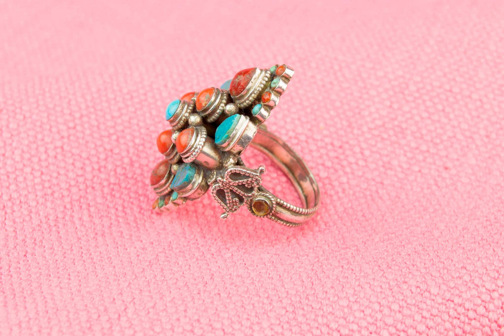 Silver Coral and Turquoise Ring, Tibetan Early 1900s