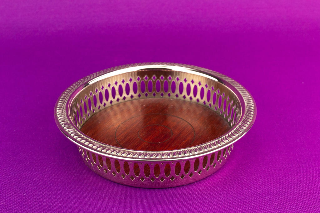 Silver Plated Coaster Wooden Base