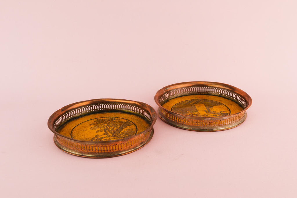 2 Wine Bottle Coasters, English Circa 1860