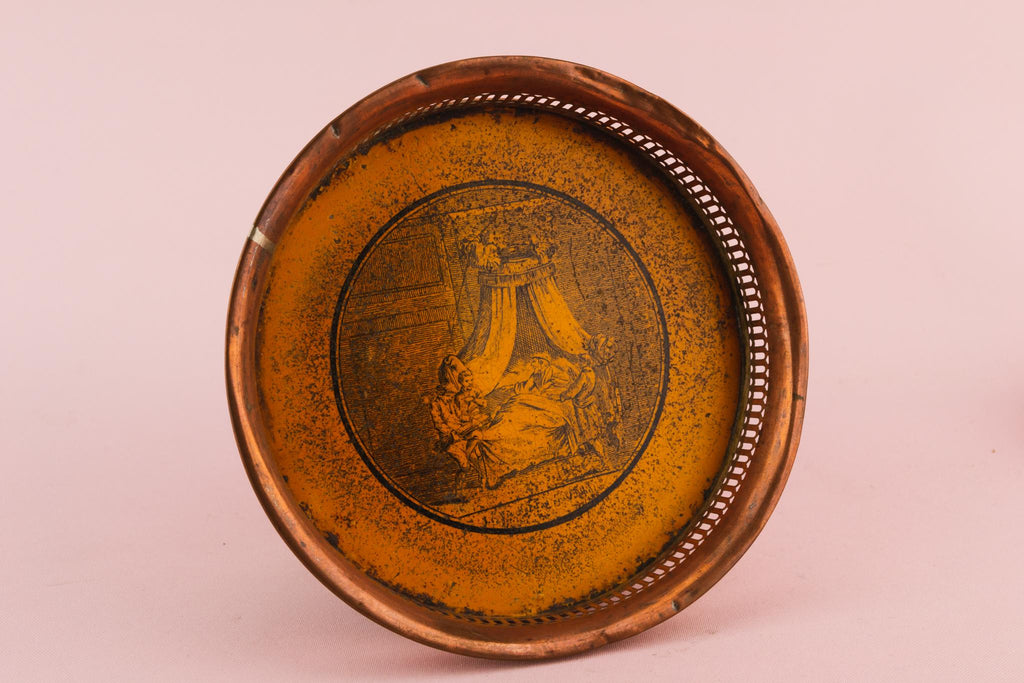 2 Toleware Bottle Coasters, English Circa 1860