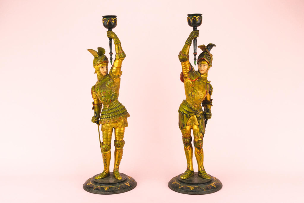 Two Gothic Revival Candlesticks, English Circa 1860