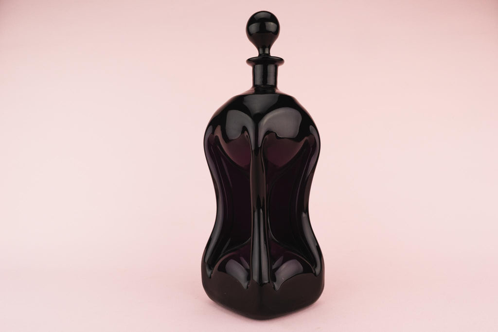 Dark Amethyst Glass Decanter, English 1890s