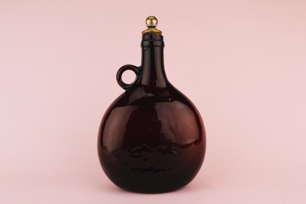 Dark Amber Glass Decanter, English Circa 1770