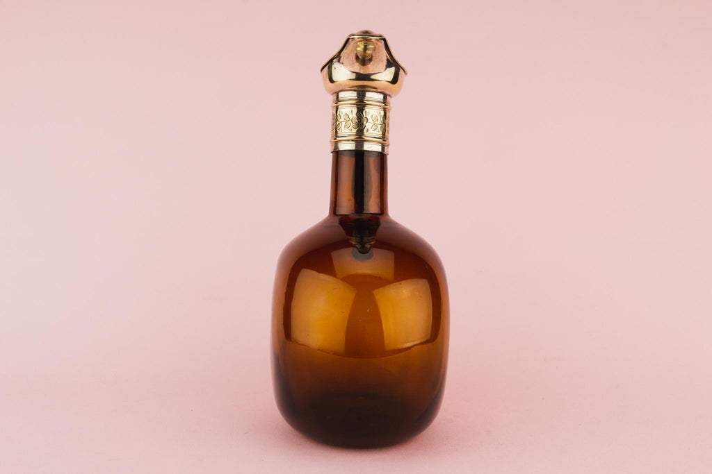Brown Glass Flask Decanter, English Circa 1820