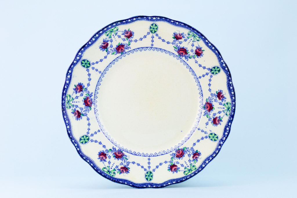 Blue and White Dinner Plate, English Circa 1910
