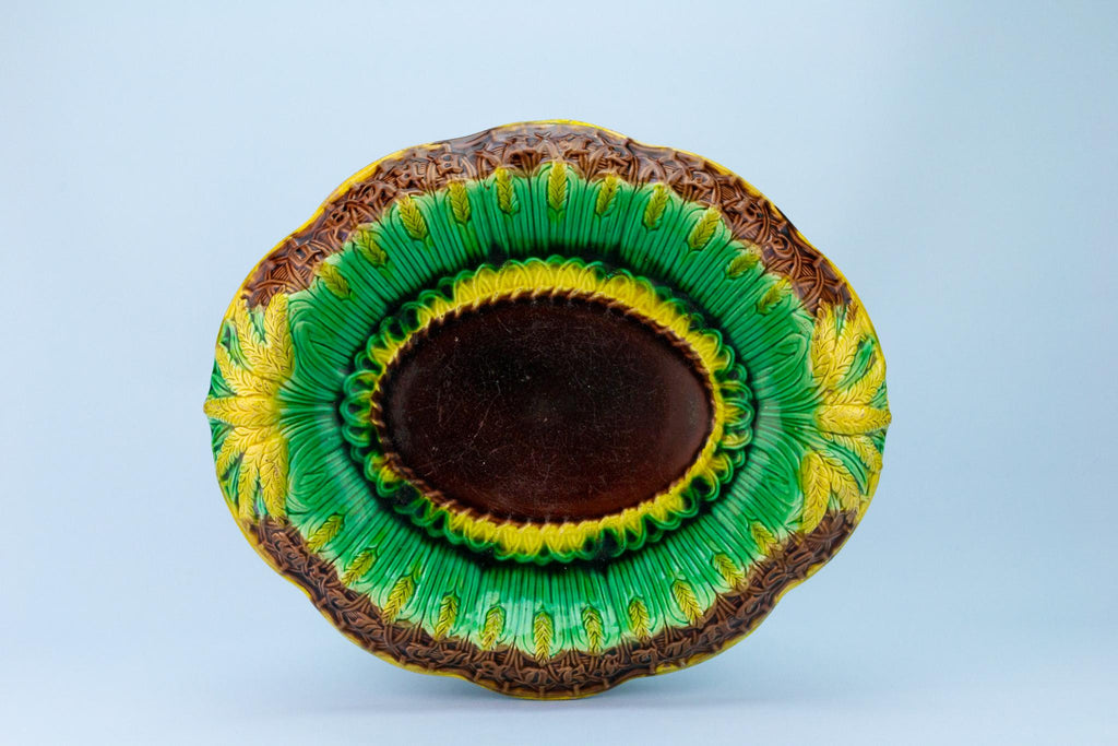 Green Majolica Bread Platter, English Late 19th Century