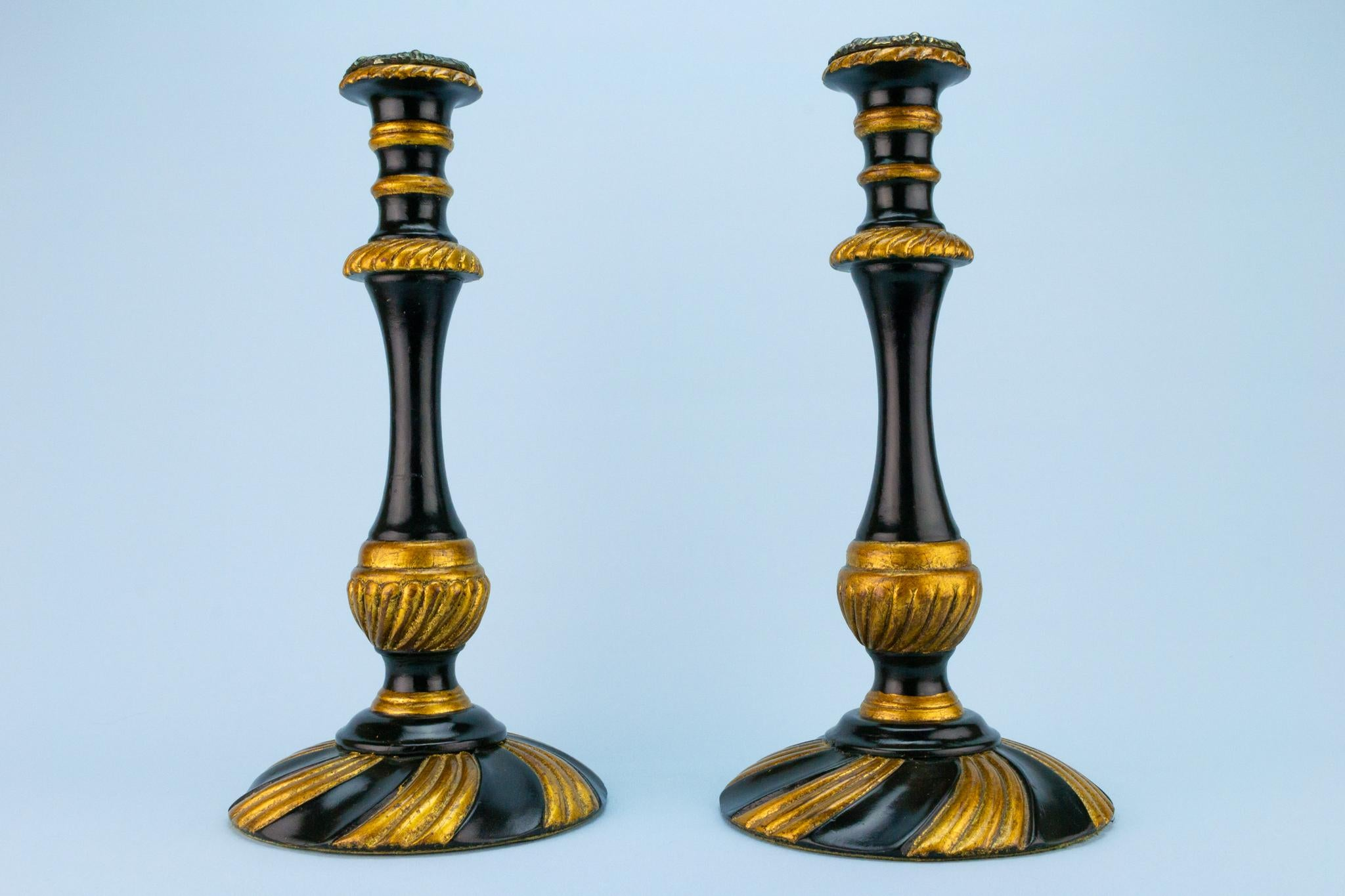 Large Black and Gold Candlestick in Wood