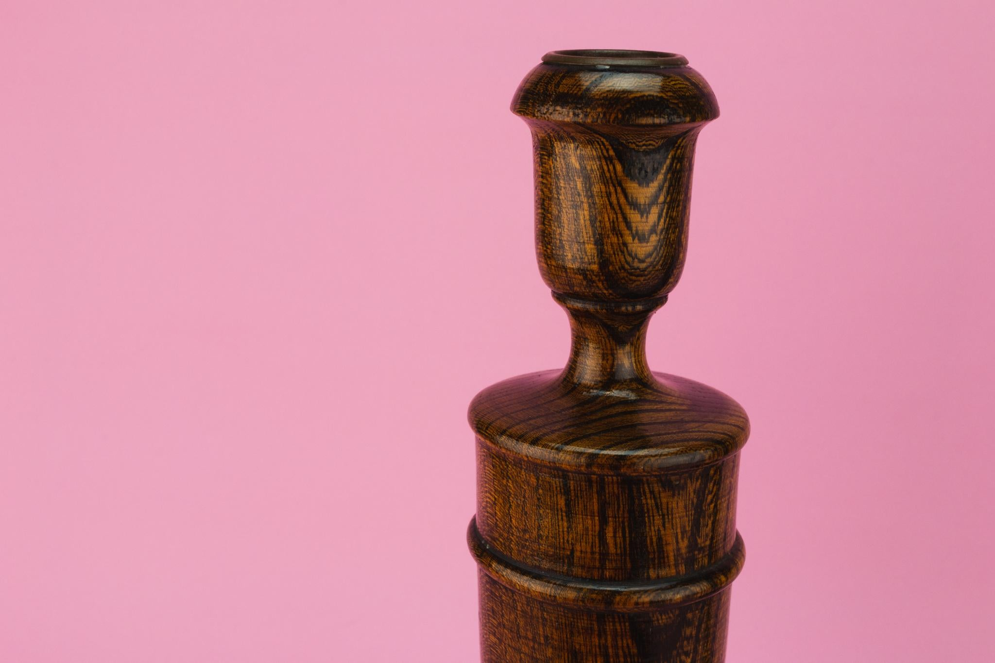 Carved Oak Candlesticks, English Circa 1930