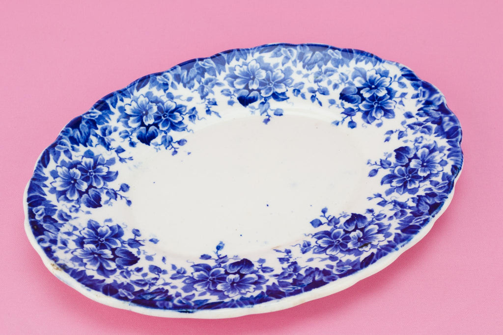 Blue and White Small Serving Bowl on Plate, English Early 1900s