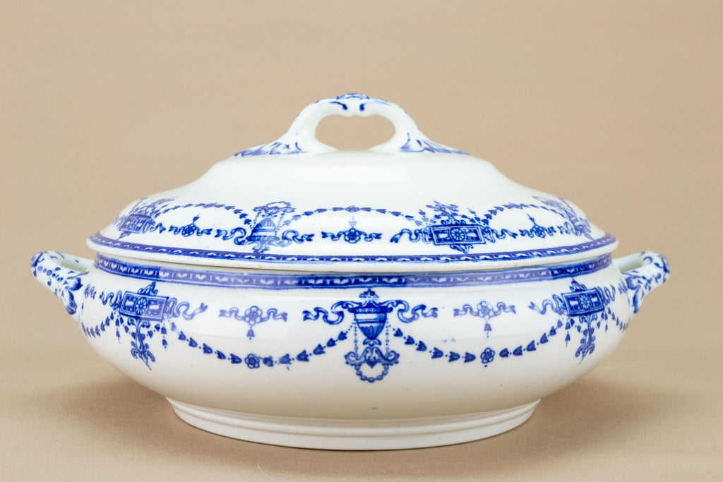 Blue and White Tureen with Lid, English 1910s