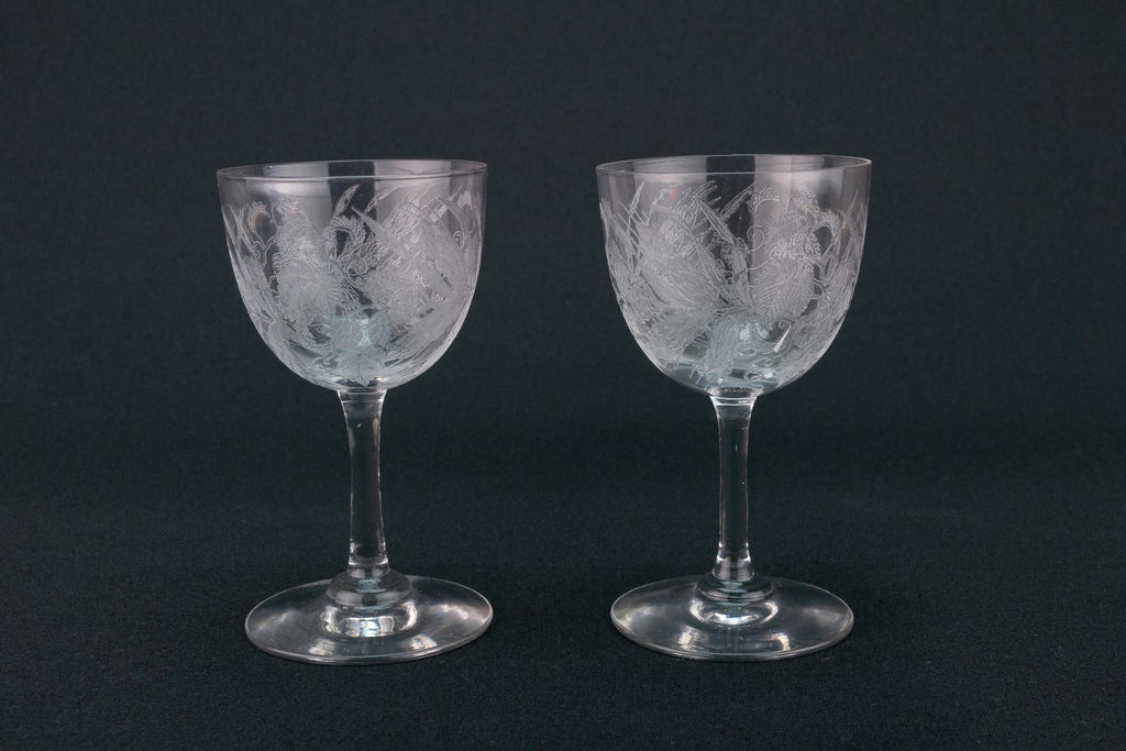 Two Hops Etched Port Glasses, English Early 1900s