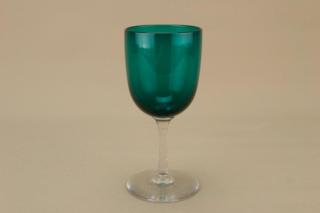 Victorian Dessert Wine Green Glass, English 19th Century