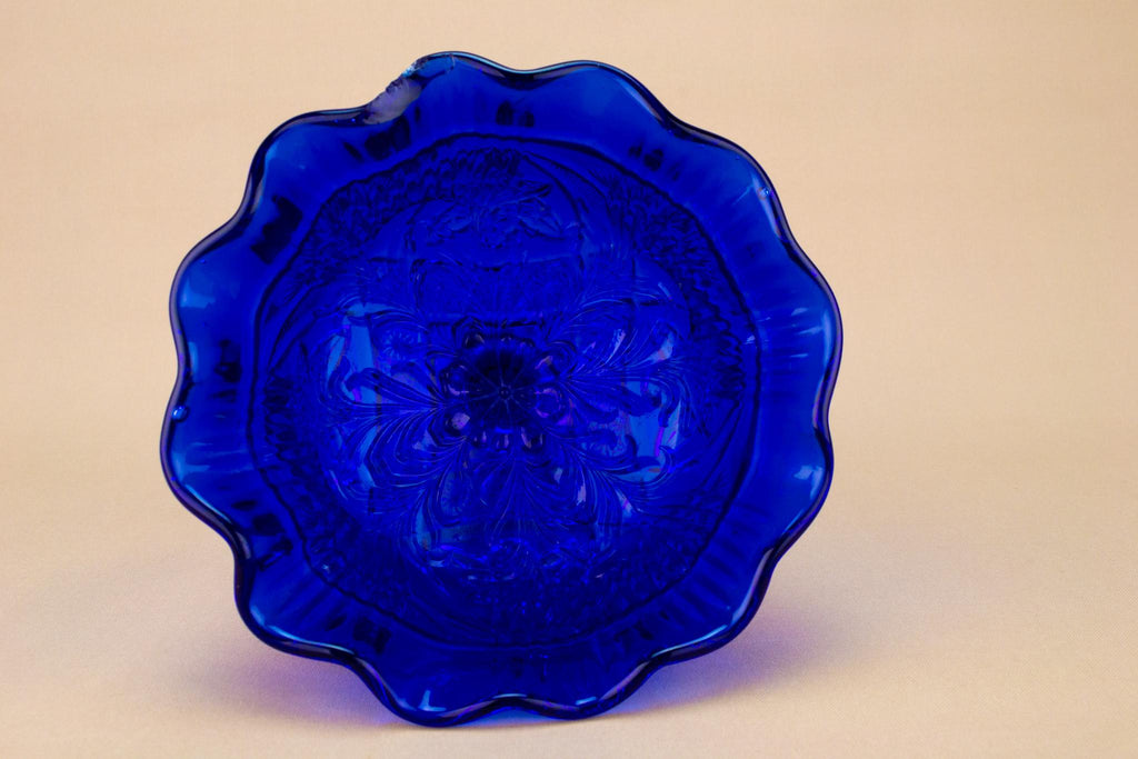 Dark Blue Pressed Glass Stem Bowl, English Circa 1900