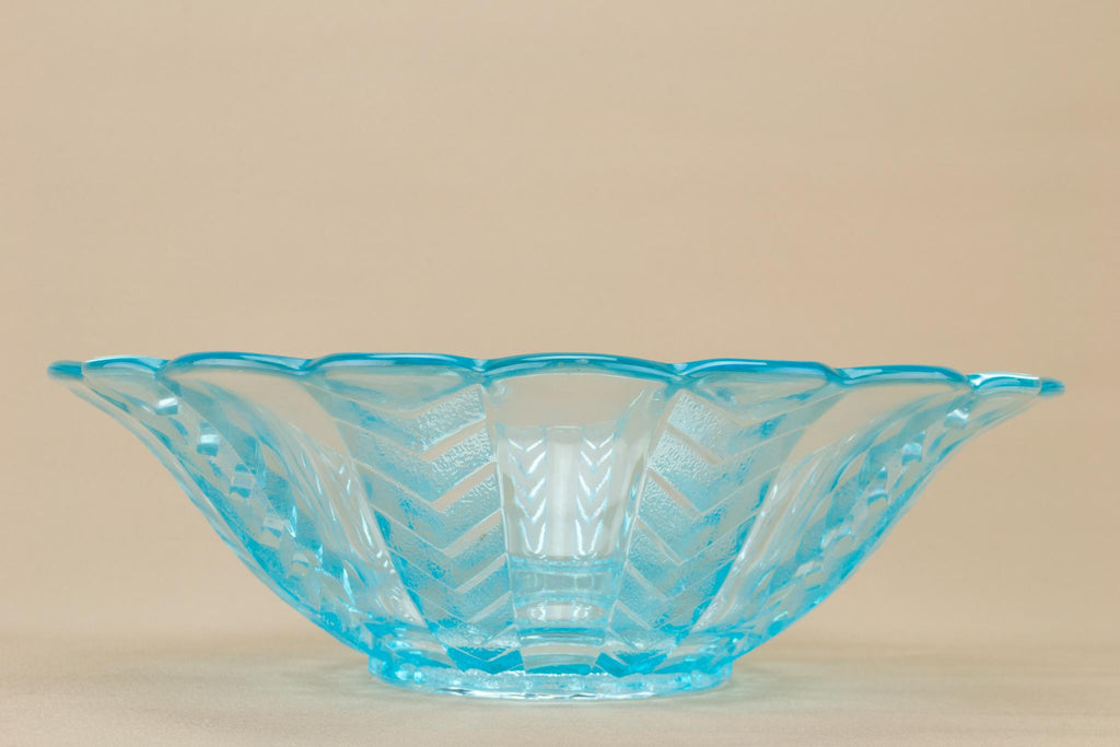 Large Blue Glass Fruit Bowl, English Art Deco Circa 1930