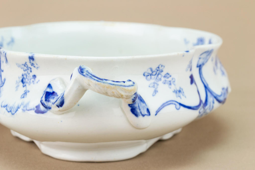 Blue and White Bowl Art Nouveau, English Circa 1900