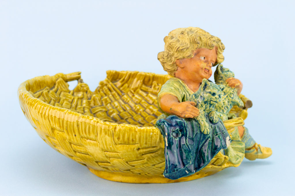 Majolica Bowl Boy Playing With Cats, Austrian Circa 1890