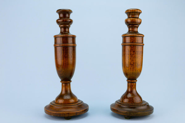 Polished Oak Candlesticks, English 1930s