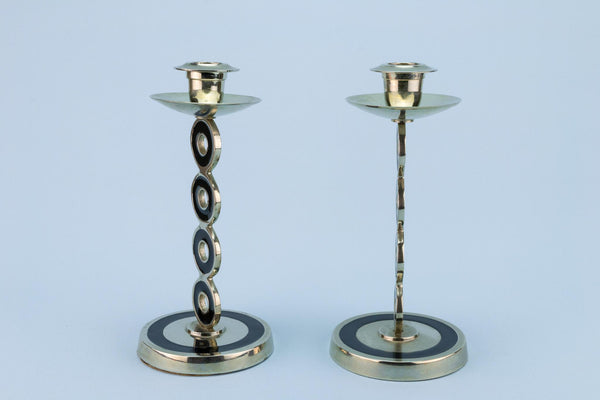 Mid-Century Modern Black and Silver Candlesticks, English circa 1960