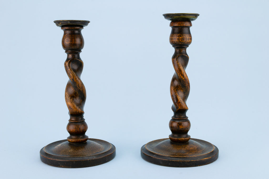 2 Barley Twist Arts & Crafts Candlestick, English Early 1900s