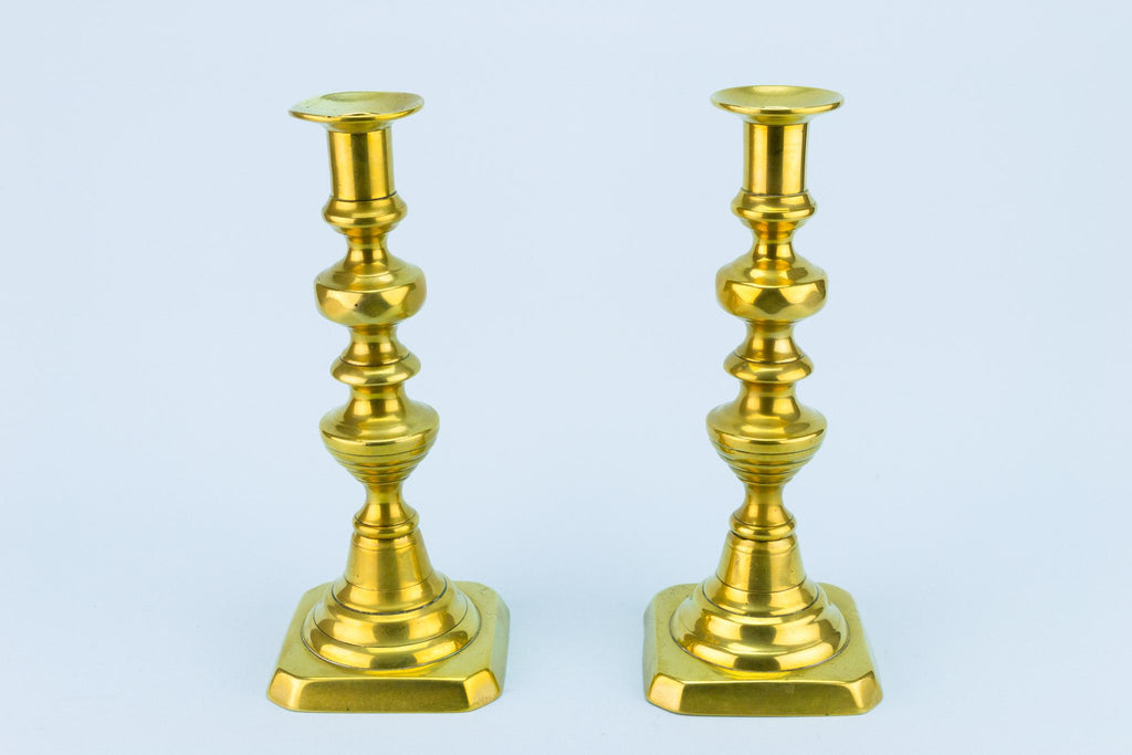 Pair Of Polished Brass Candlesticks, English Circa 1900