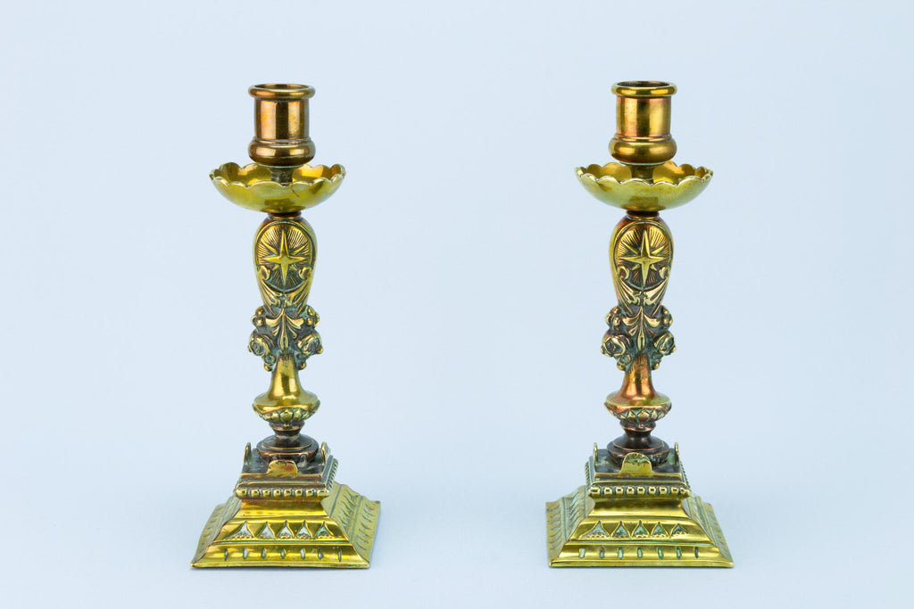 2 Heavy Brass Candlesticks, French Late 19th Century