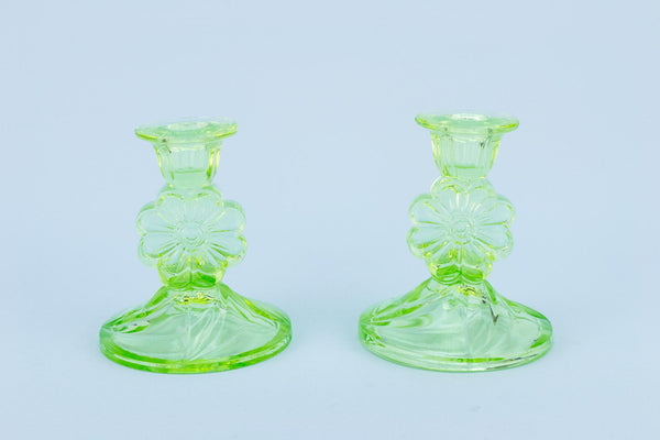Green Glass Candlesticks, English Art Deco 1920s
