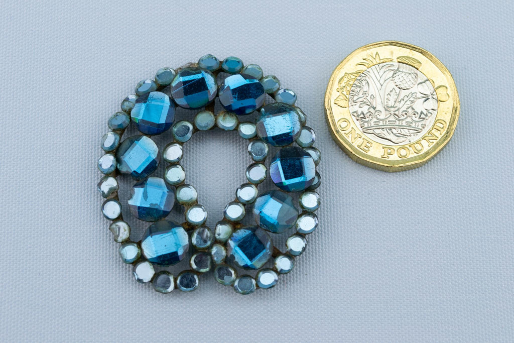 Vauxhall Blue Glass Brooch, English 19th Century