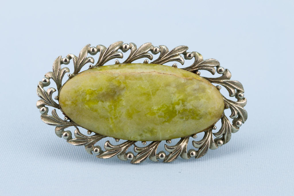 Green Agate Brooch, English 1950s
