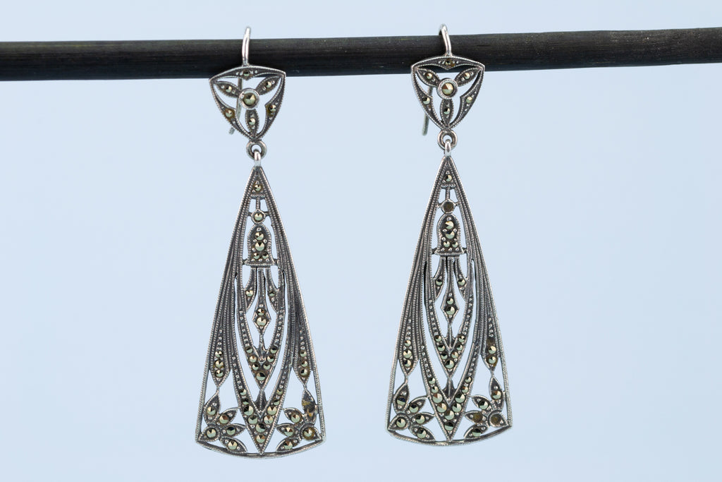 Art Deco Silver & Marcasite Earrings, English 1920s