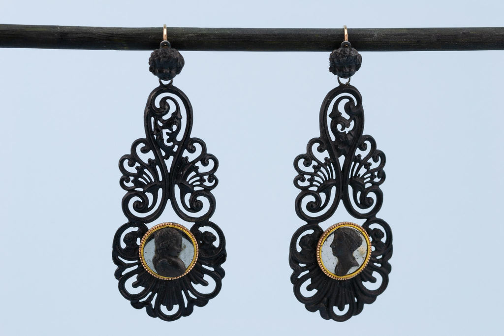 Berlin Iron & Gold Earrings, German 1810s