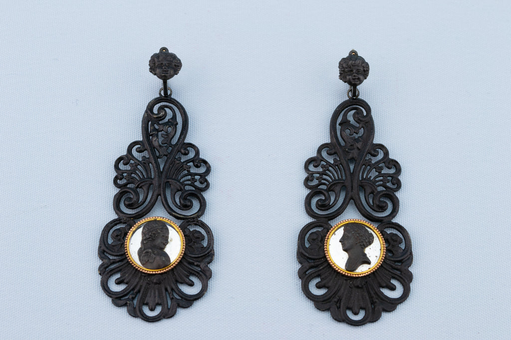 Berlin iron gold earrings antique German 1810