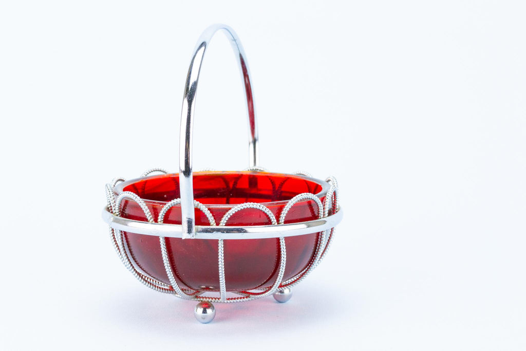 Red Sauce Bowl in Silver Plated Basket, English 1950s