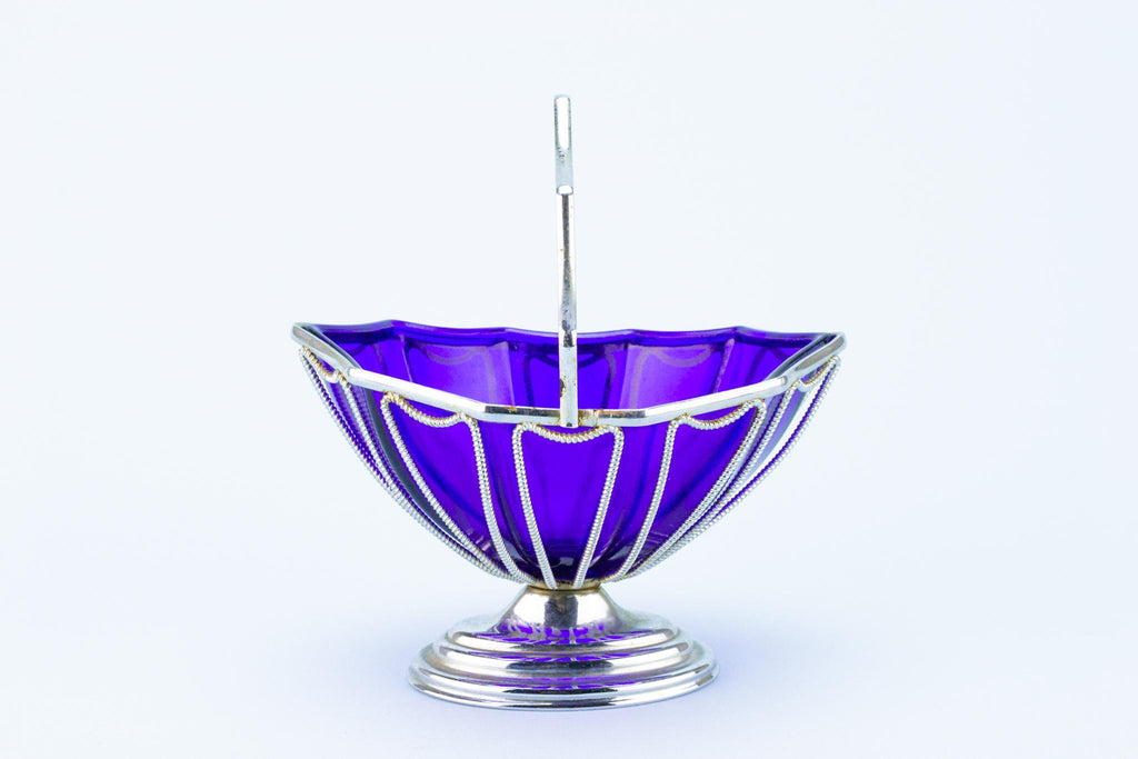 Blue Sauce Bowl in Silver Plated Basket, English 1950s