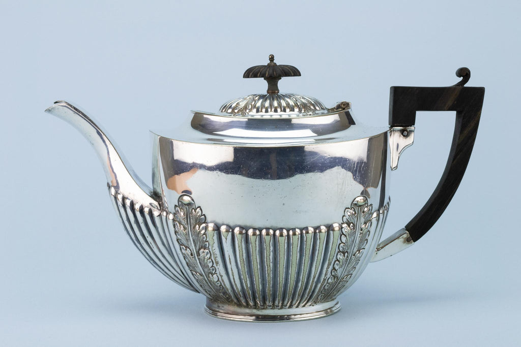 Silver Plated Victorian Teapot, English Circa 1900