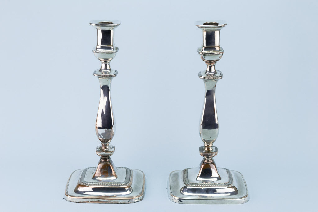 Tall Silver Plated Candlesticks Early 1800s