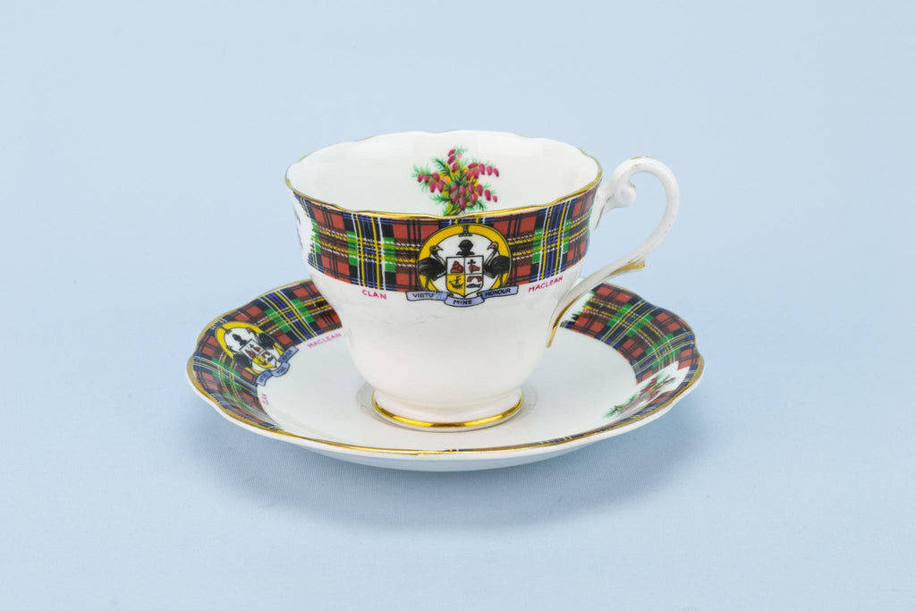 Clan Maclean Teacup and Saucer Scottish Tartan