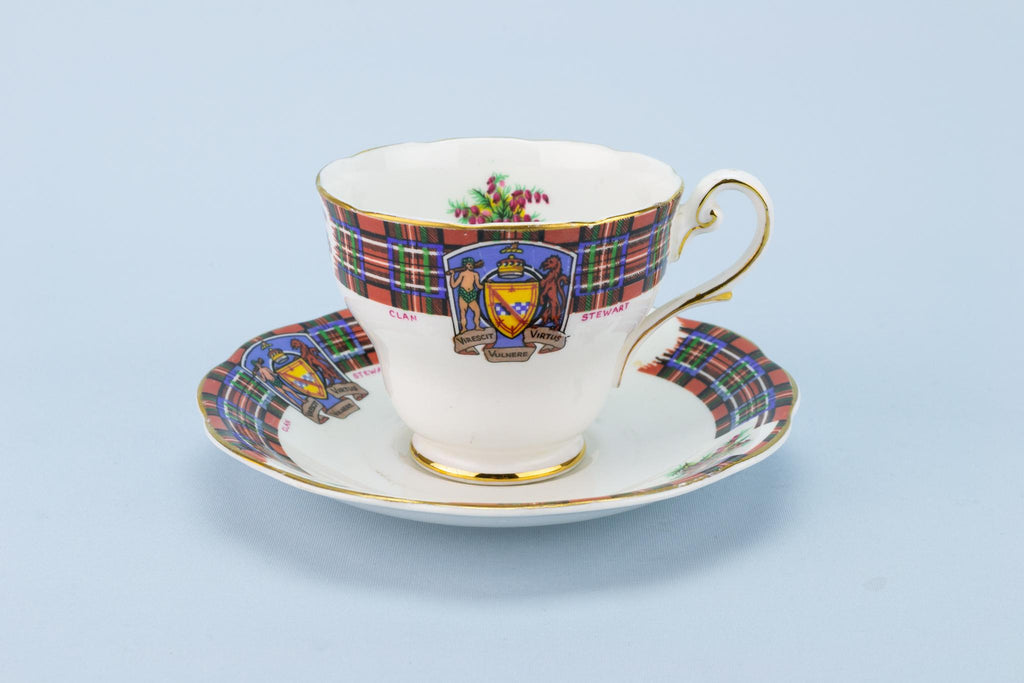 Clan Stewart Teacup and Saucer Scottish Tartan