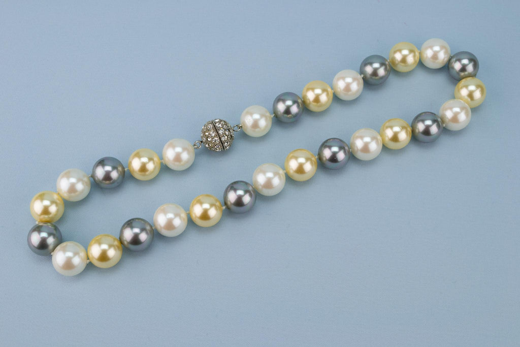 Large Grey Majorica Pearls Necklace