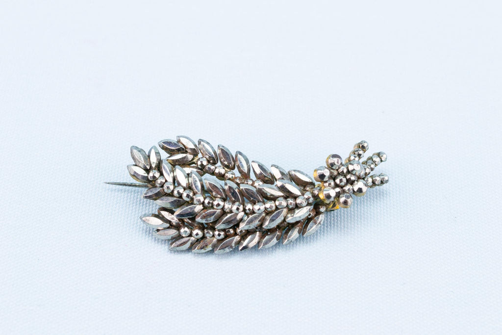 Brooch Cut Steel Wheat Sheaf, English 1840s