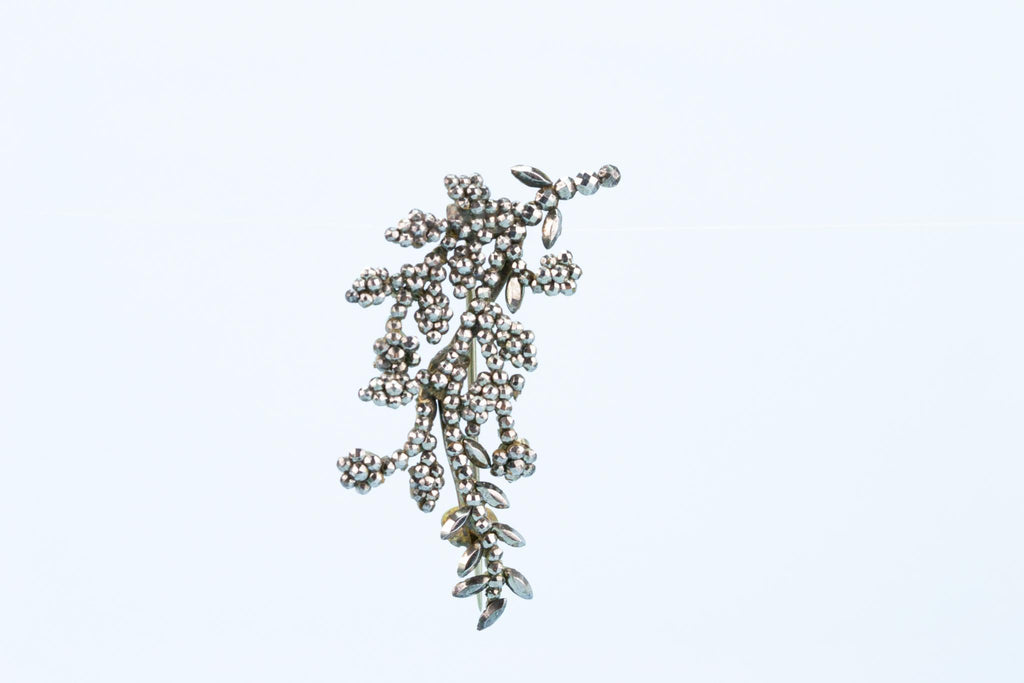 Flower Branch Brooch In Cut Steel, English 1840s