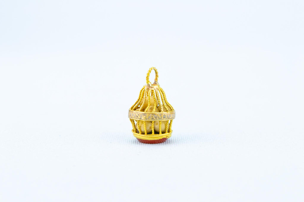 Gold Pendant Cage with Ivory Eggs, English 18th Century