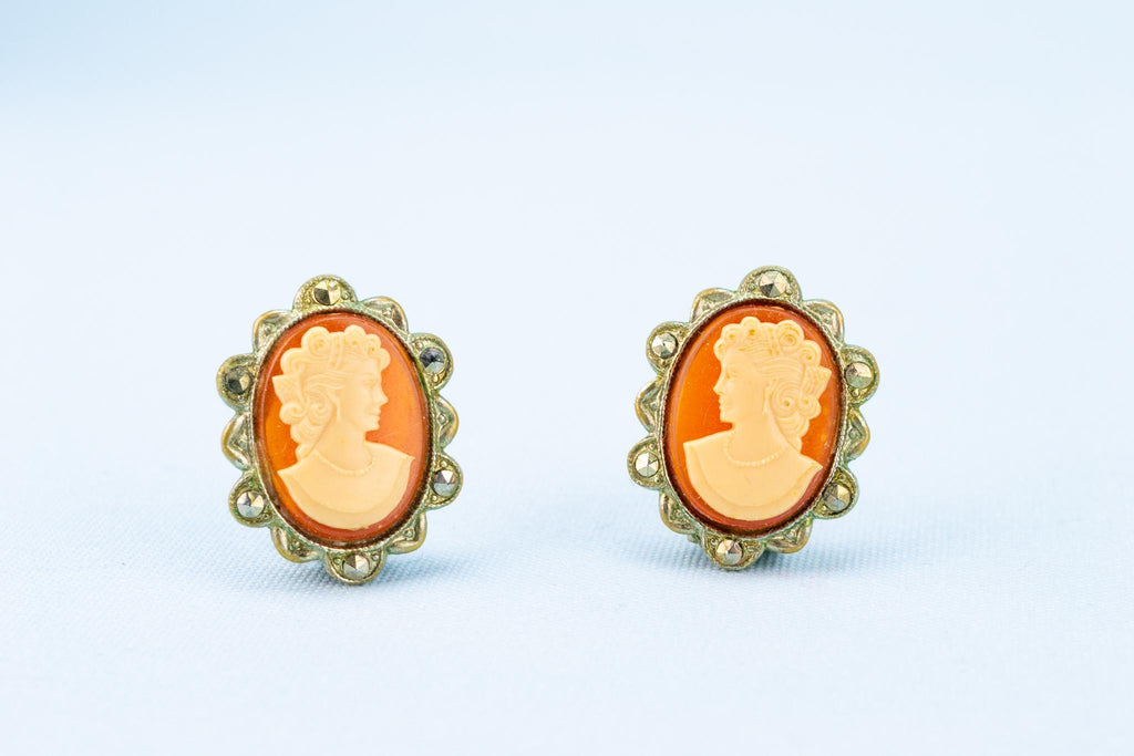 Marcasite Cameo Clip Earrings, English 1920s