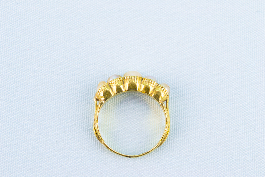 Gold & Scottish Pearls Ring, English 18th Century