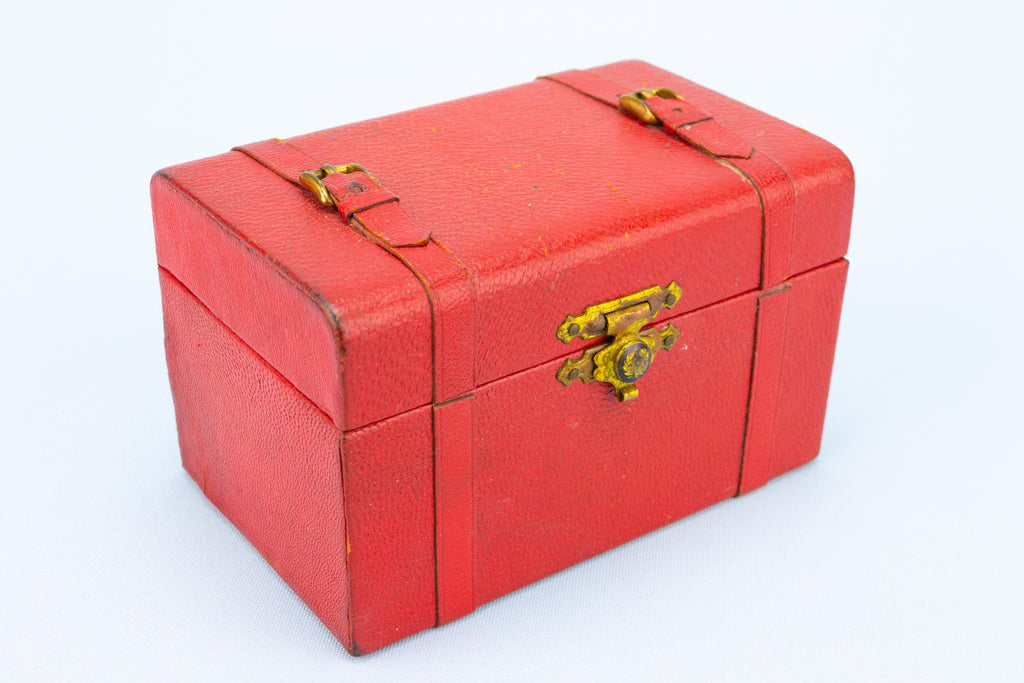 Red Leather Jewellery Box, French 1950s